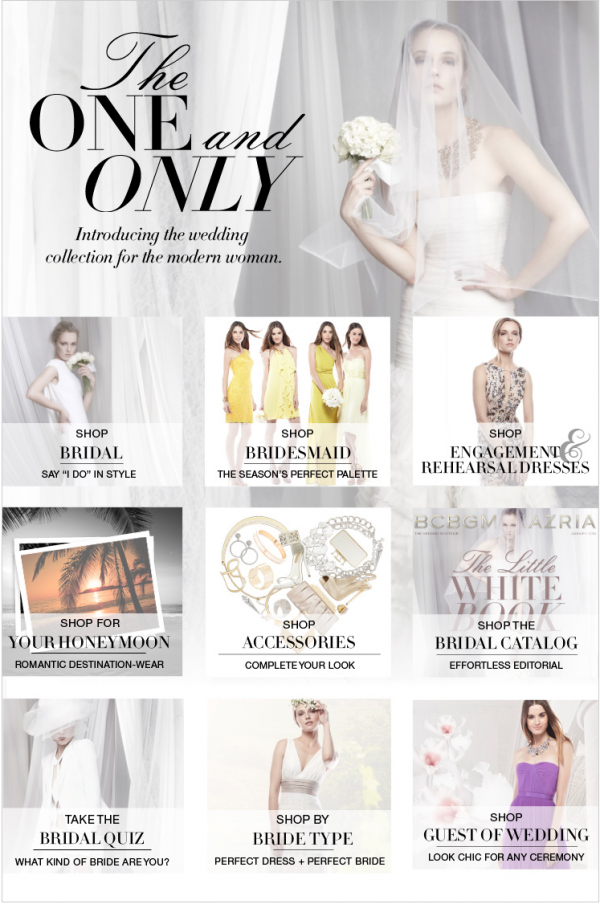 One of my all time favorite designers, BCBG, has launched a full wedding department. Photo courtesy of the BCBG website.