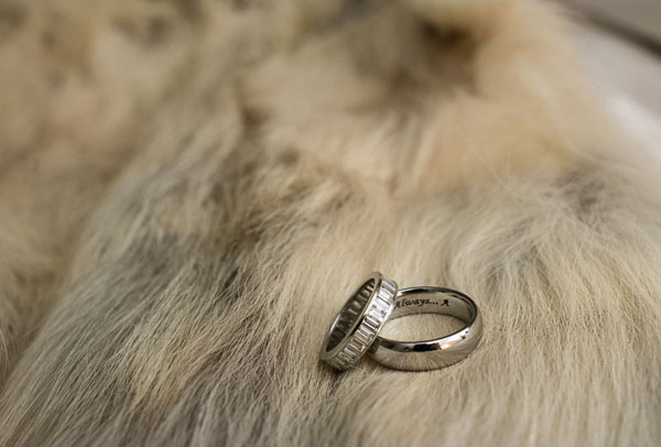 Wedding Bands by Fred Leighton. Emerald Cut Eternity Band for me, and a plain platinum band for Tony.