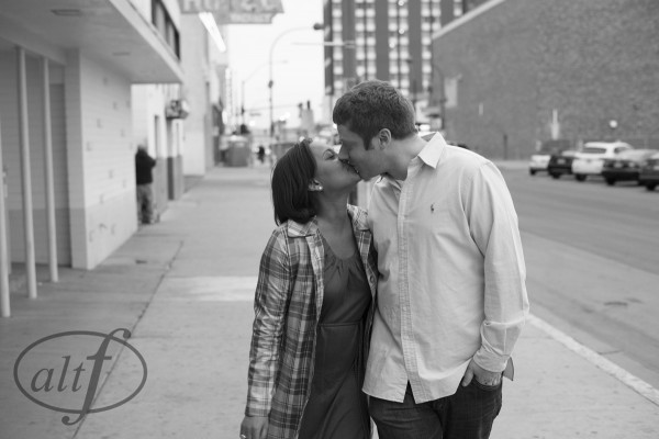 Candid Kisses! Downtown Las Vegas (known as Old Vegas) is a great backdrop and something different from the bright lights of the strip.
