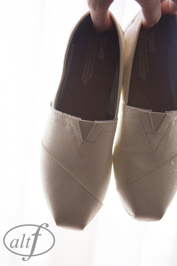 And the bride wore TOMS!  Perfect for the bride looking for comfortable, flat wedding shoes.