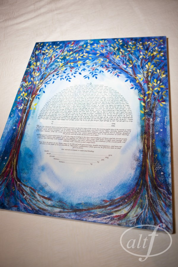 The hand painted, custom purple ketubah was signed as a part of the ceremony.
