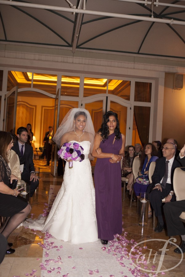 Kaitring, the bride, was escorted down the aisle by her mom.  Wedding at Bellagio Las Vegas.