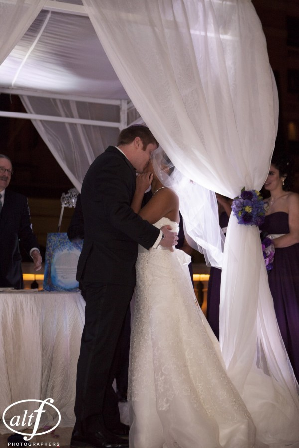 Our adorable bride and the first kiss.  Weddings at Bellagio Las Vegas.