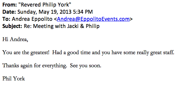 I love thank you notes! What a nice testimonial from Reverend Philip York.