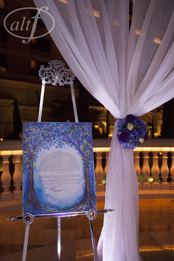 The tradition Jewish Ceremony took place on the Grand Patio at Bellagio Las Vegas, and included both a Ketubah and a Chuppah.