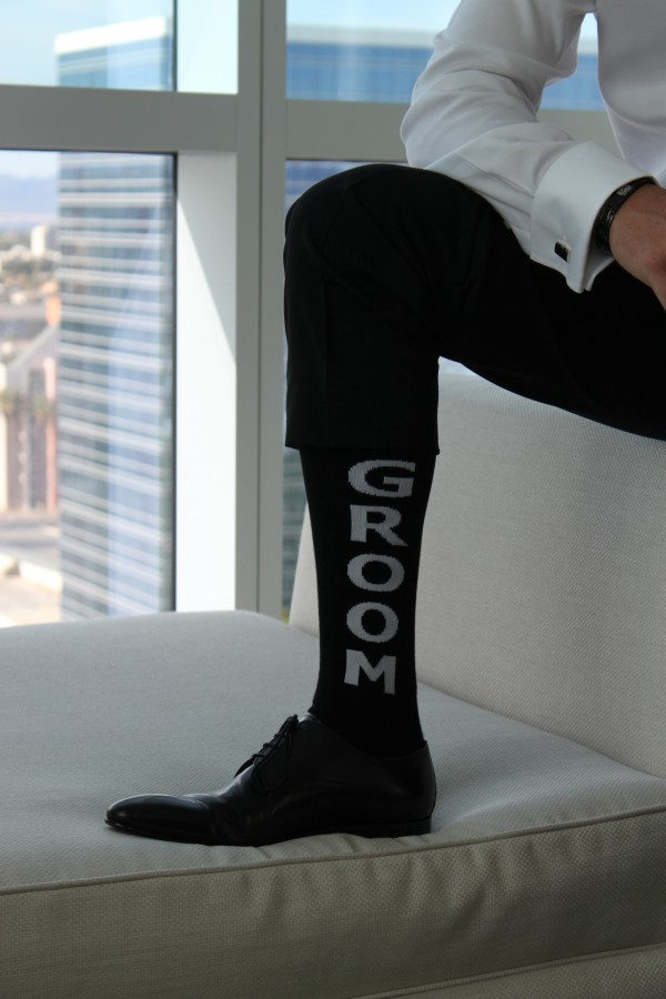 Raising the sock game! GROOM! Photo by Las vegas Wedding Planner Andrea Eppolito