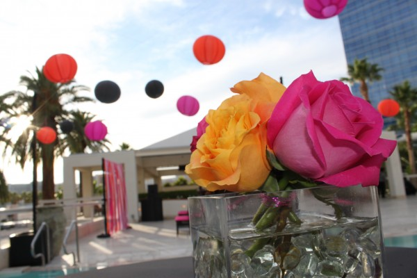 Big, bold colors! Pink and orange took center stage at the Breathe Pool & Lounge. Photo by Brian Derck.