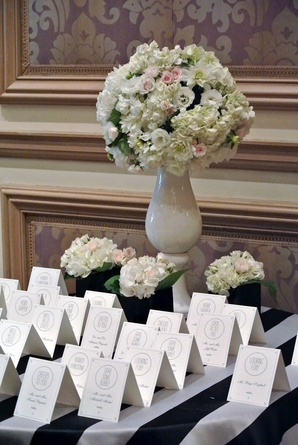 Look closely at the escort cards. They are all personalized with cute little saying! And the striped table cloth is to die for! Photo by Andrea Eppolito.