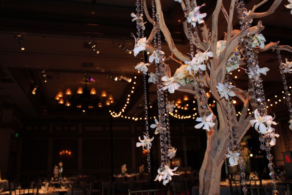 Sandblasted manzanita branch trees were dripping in orchids and crystals. Photo by Andrea Eppolito.