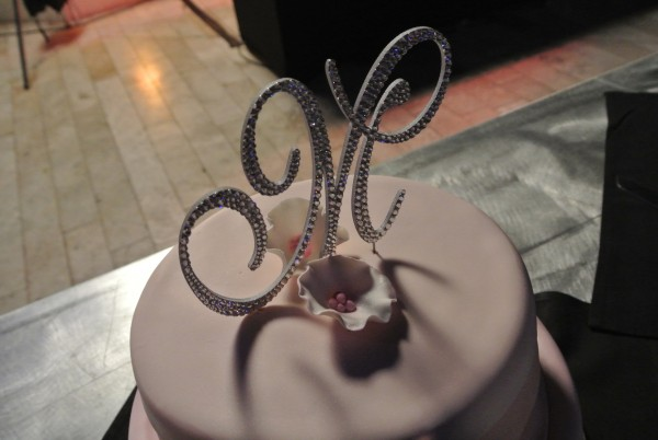 Swarovski Crystal Monogram Cake Topper. Photo by Las Vegas Wedding Planner Andrea Eppolito.