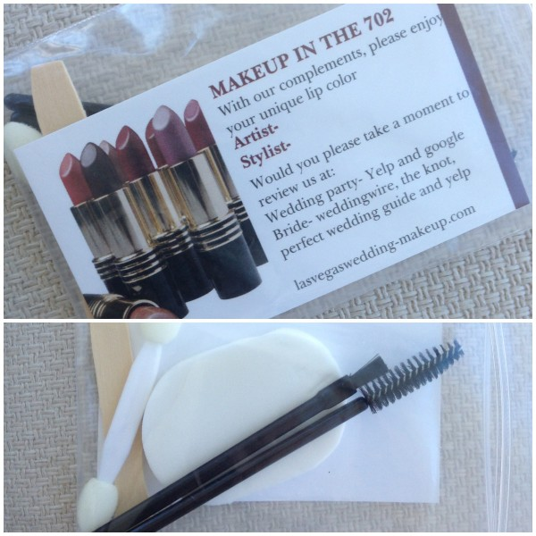 Each girl received a personalized touch up kit from Makeup in the 702 with a mini gloss, mascara wand, blotting pads and business card. Now that's taking care of people above and beyond! Photo by Las Vegas Wedding Planner Andrea Eppolito.