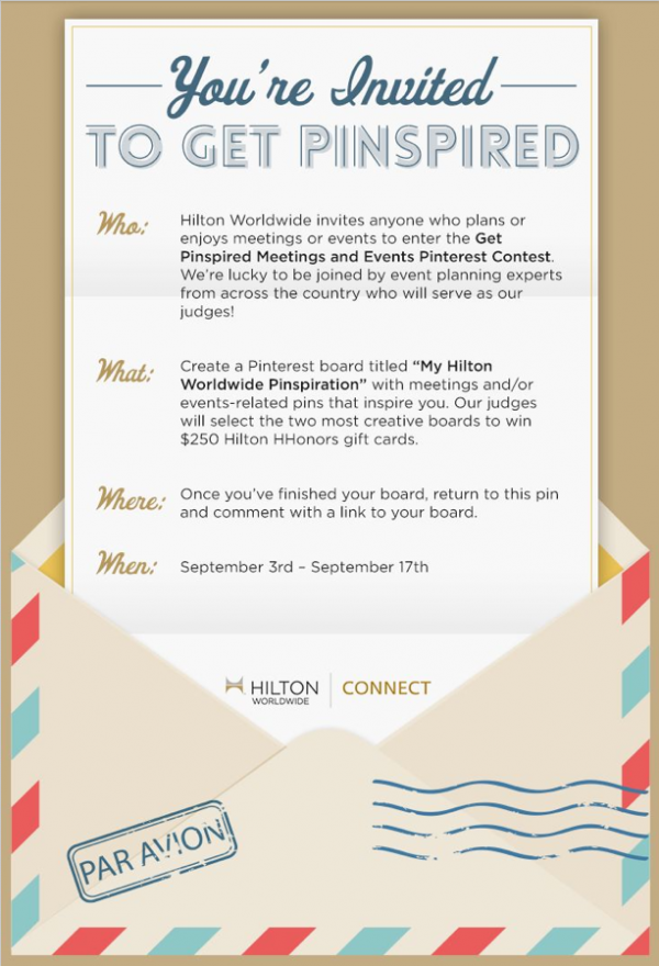 Look who's judging Hilton's Get Pinspired contest...Me! I am filling the wedding planner slot along with meeting planners and event executives from around the country!