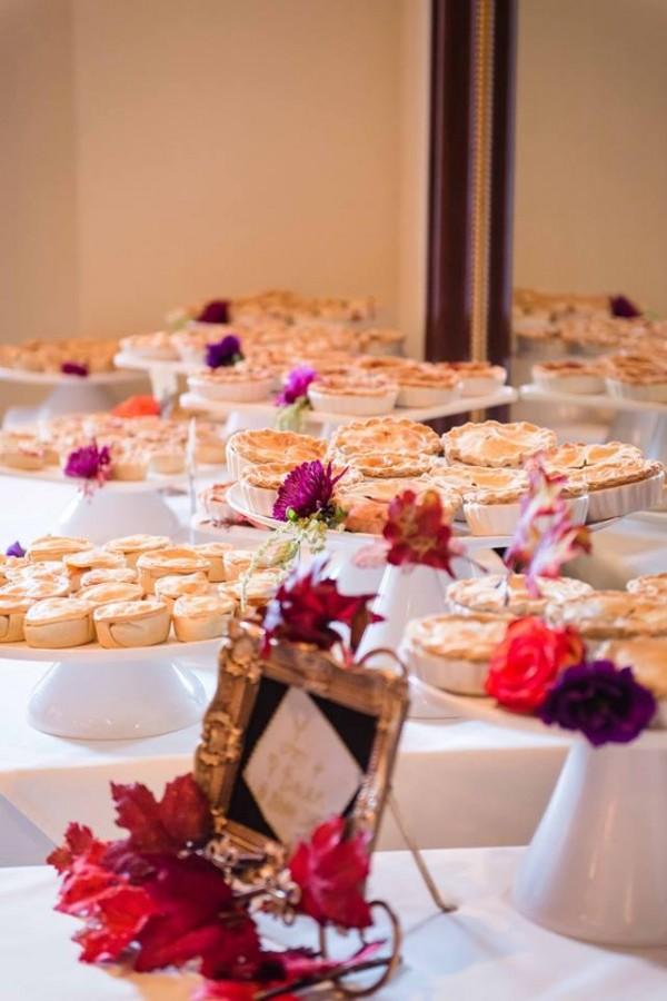 Not a fan of wedding cake?  Try this unique idea - A Pie Bar!  Photo by www.raylenestreuber.com.