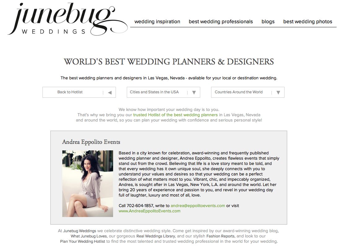 I am super excited about being listed as one of the World's Best Wedding Planners in Las Vegas and Beyond! Thank you Junebug Weddings!