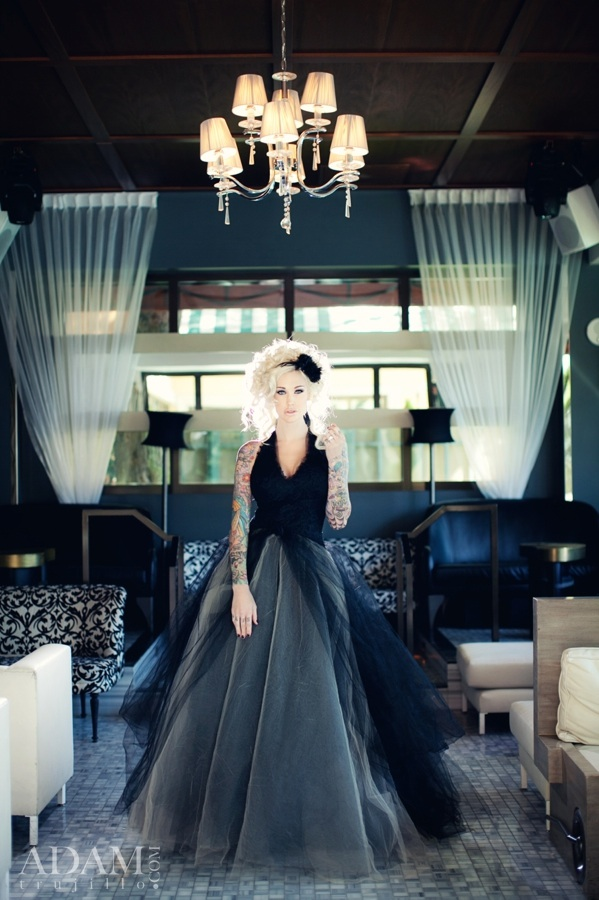 And the bride wore...Black. Sabina Kelley in Black, Grey and Nude Vera Wang at Hyde Bellagio.