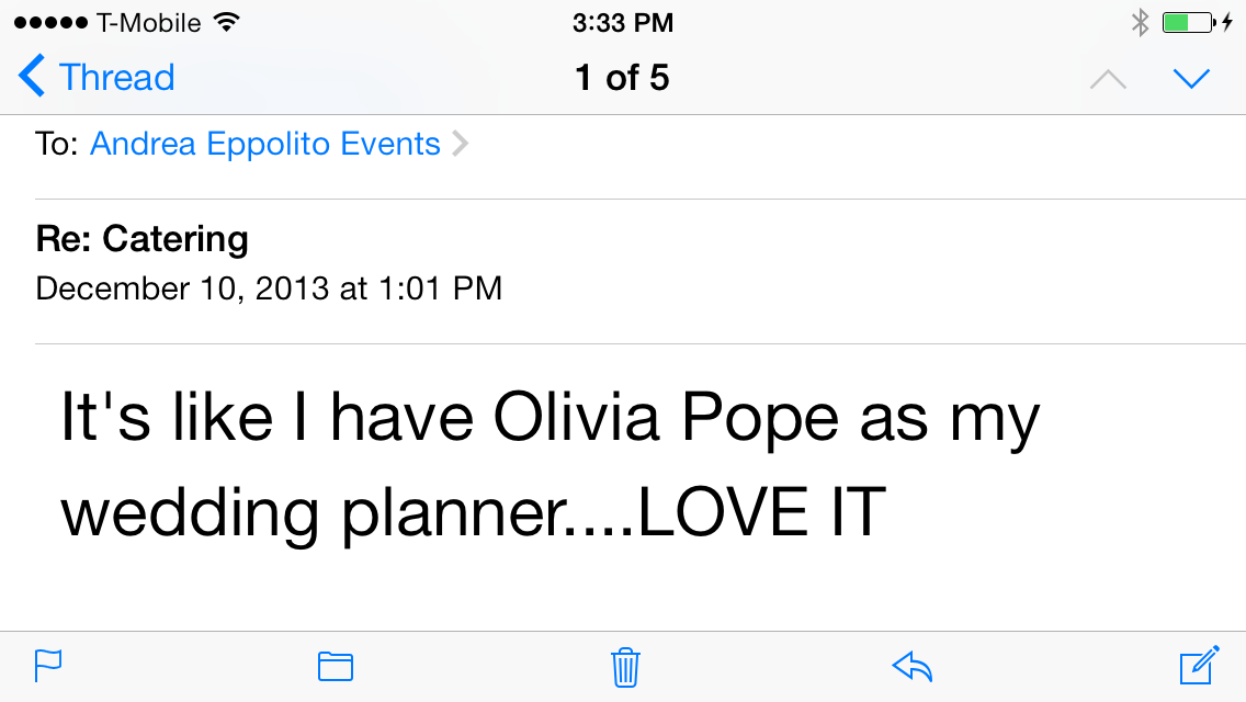 I have officially been crowned The Olivia Pope of Wedding Planners!