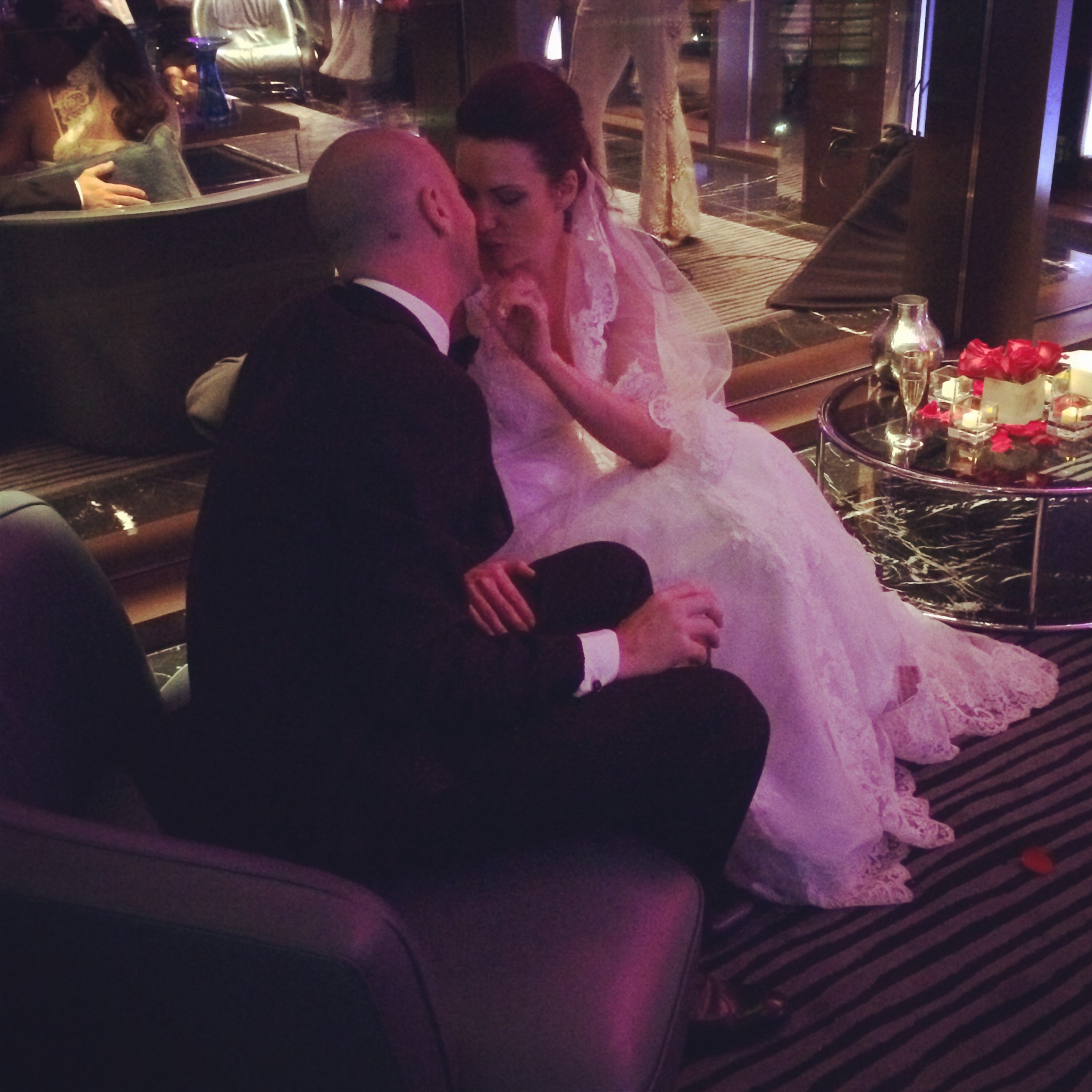 Bridget & Adam stole a moment alone while Elvis performed at their wedding in the One80 Suite at Red Rock Casino.