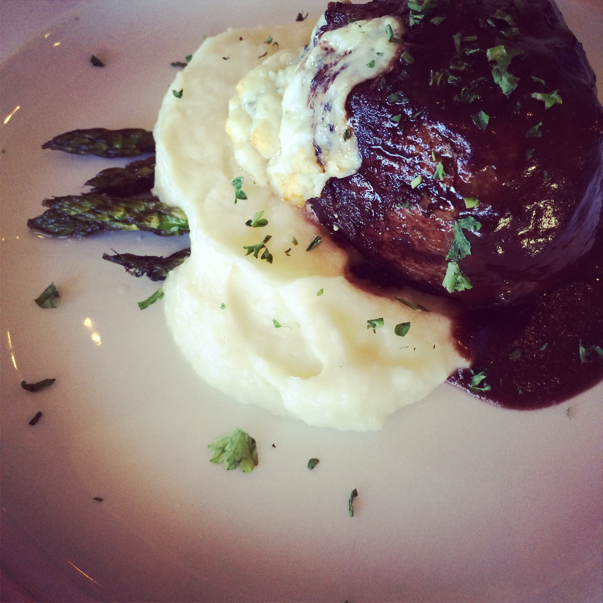 Gorgonzola Crusted Filet and Whipped Potatoes at Siena Golf Course.