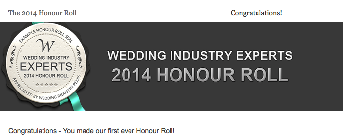Award Winning Wedding Planner Andrea Eppolito has made the Wedding Industry Experts Honor Roll!