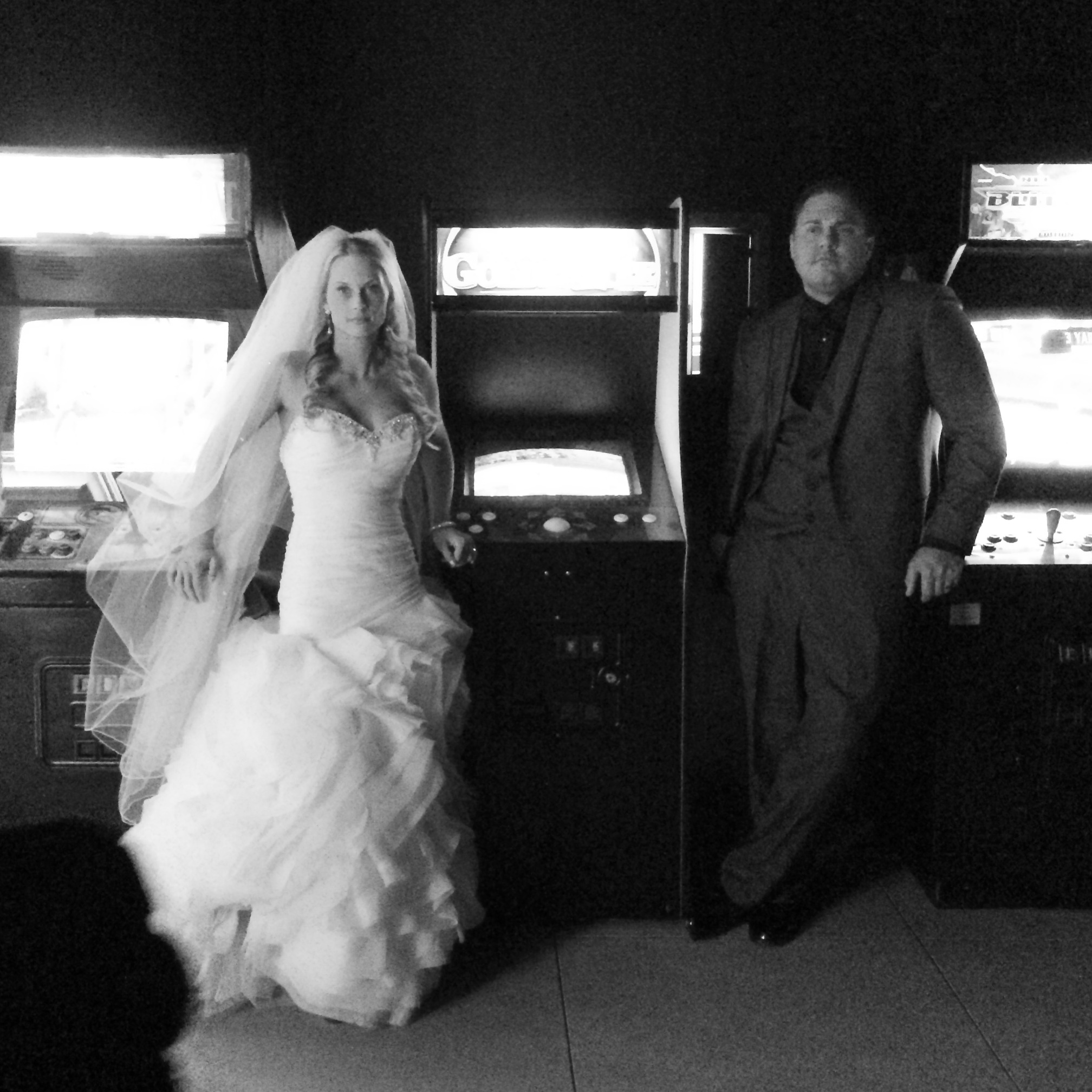 Amy & Eric's Arcade at Lake Las Vegas by Funtime Arcades.   Las Vegas Wedding Planner: Andrea Eppolito | Wedding Venue: Westin Lake Las Vegas | Wedding Dress: Cosmobella | Floral and Decor: Naakiti Floral