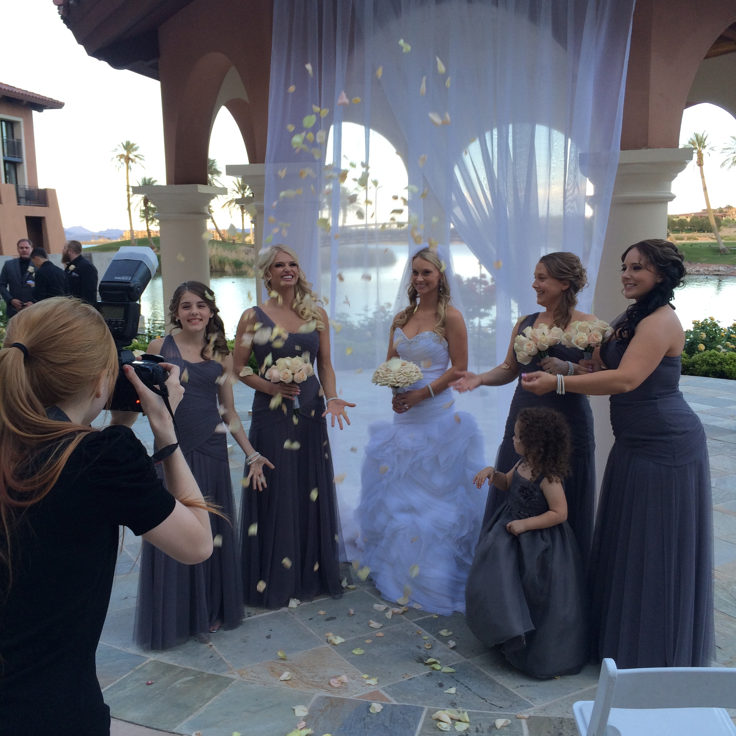 Behind the scenes - Cannot wait to se what this photo looks like!   Las Vegas Wedding Planner: Andrea Eppolito | Wedding Venue: Westin Lake Las Vegas | Wedding Dress: Cosmobella | Floral and Decor: Naakiti Floral  |  Photography by Altf.com