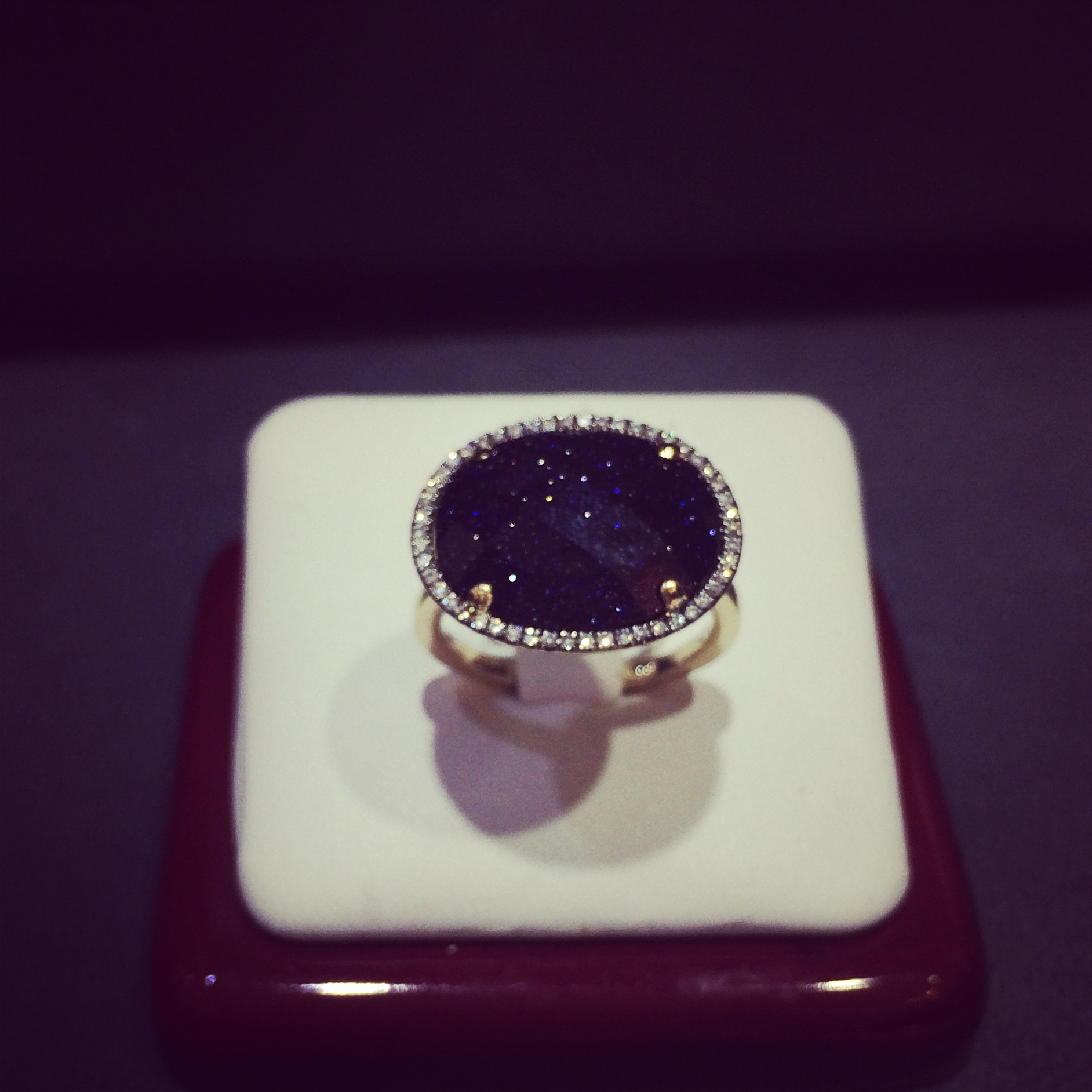 Lapis Lazuli - a non traditional engagement ring option for the bride seeking a head turning piece that stands out from the crowd. Photo courtesy of me and my iPhone.