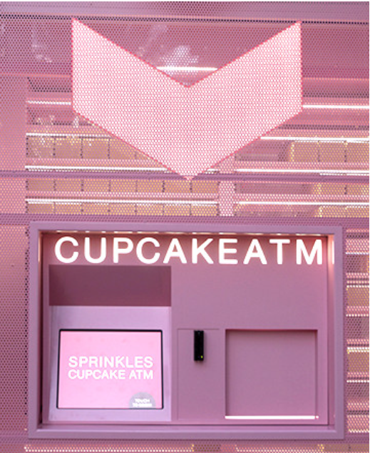 For Sprinkles addicts on the go, swing by the Cupcake ATM! Conveniently located on our bakery's patio, the Cupcake ATM is continuously restocked day and night with a variety of freshly baked cupcake flavors and even cupcakes for Fido !