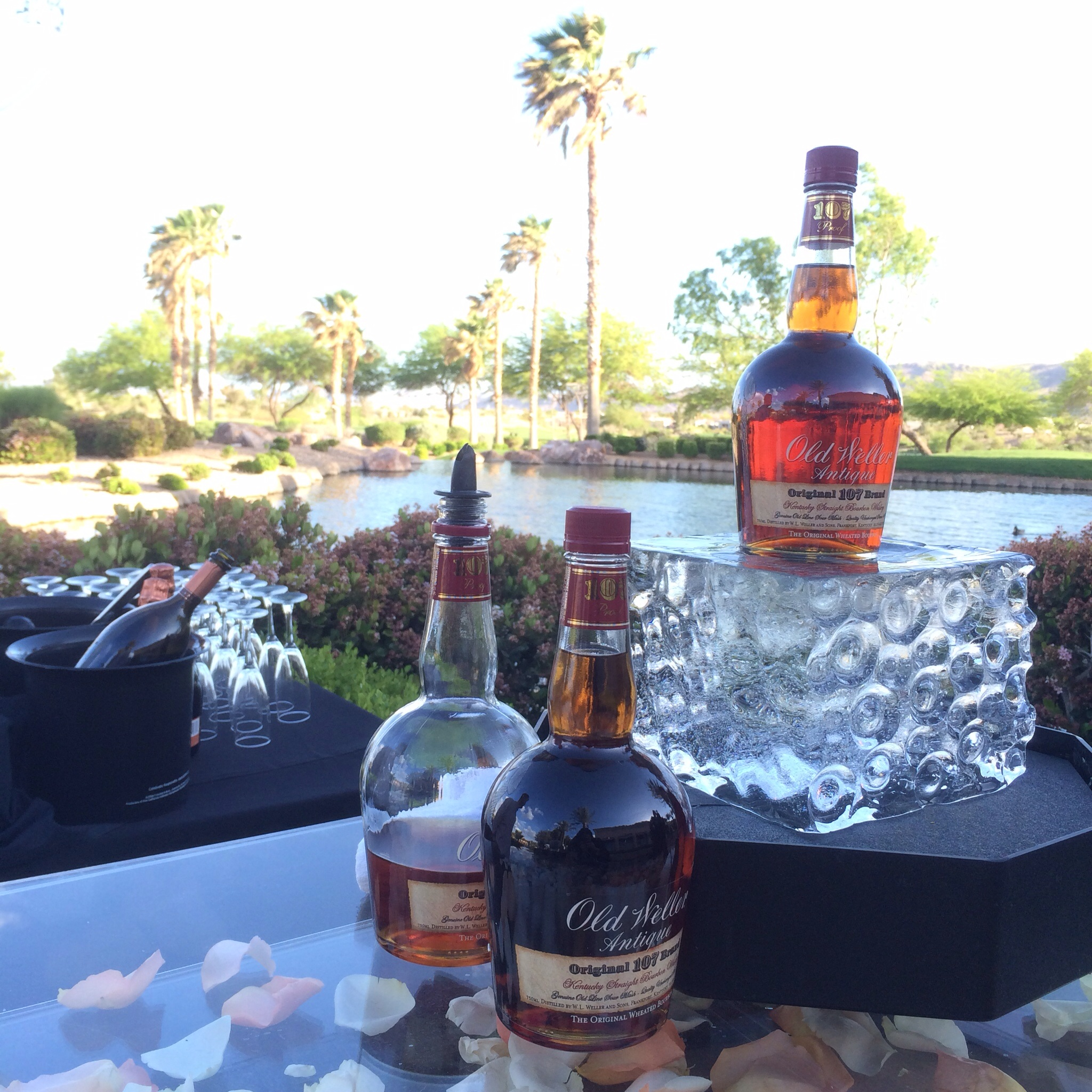 The Bourbon of the Bubbles and Bourbon Bar - Display pieces by Ice Occassions.