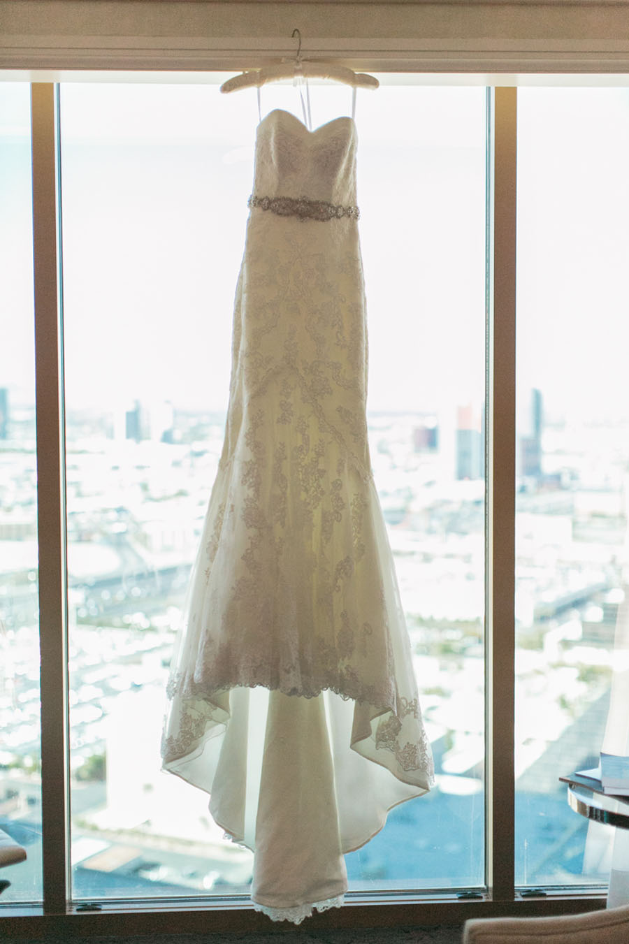 Lace Strapless Wedding Gown by La Sposa.    Las Vegas Wedding Planner  Andrea Eppolito .  Wedding at  Four Seasons .  Photography by  Meg Ruth .  Floral and Decor by  Naakiti Floral .