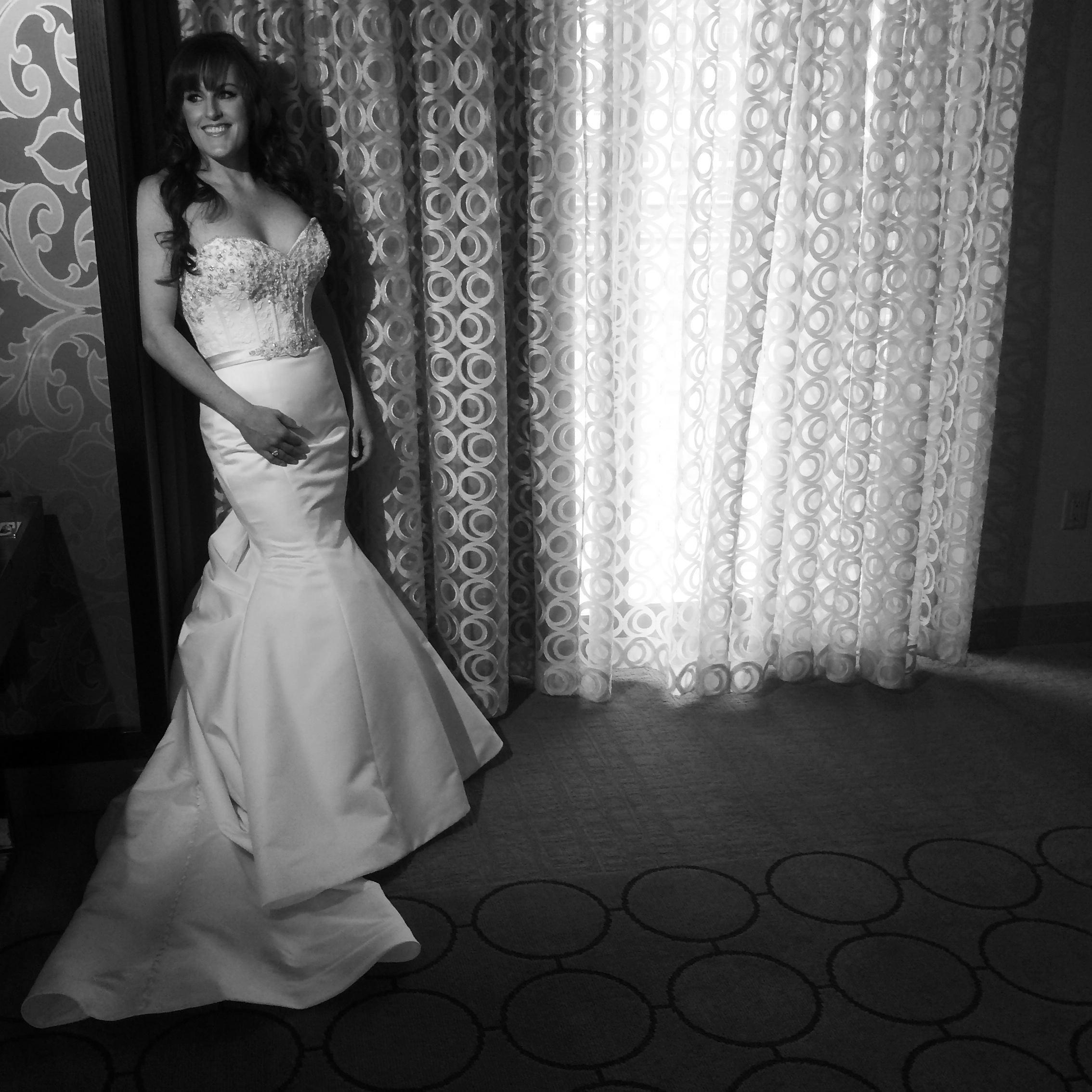 This moment was just perfect! That hair! That dress! That smile! Every bride should feel like this. Photo by Andrea Eppolito.  Las Vegas Wedding Planner: Andrea Eppolito Events | Dress by Victor Harper