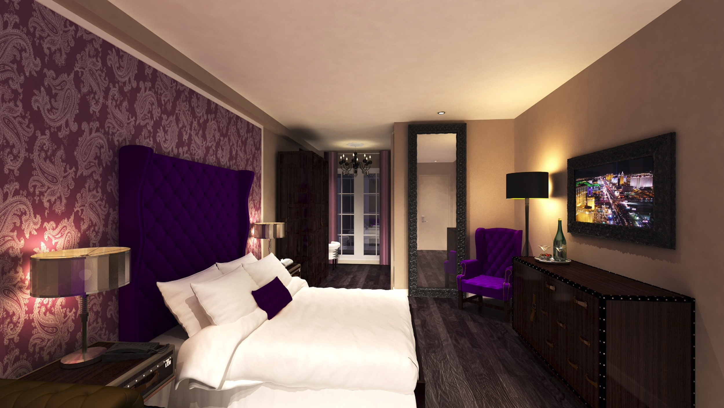 The Cromwell Las Vegas feels very modern, with flat screen TVs, super comfortable beds, dark wood, and purple accents. Courtesy of Caesars Entertainment.
