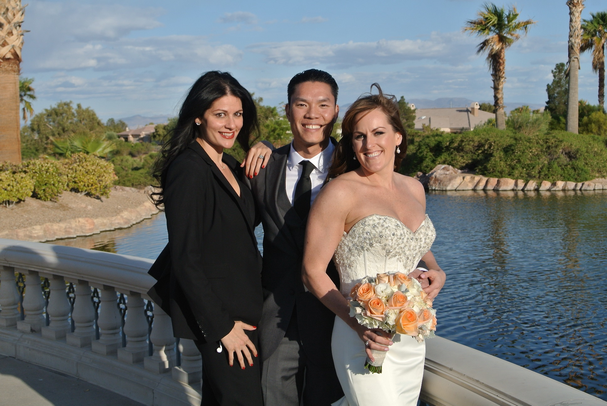 Las Vegas Wedding Planner Andrea Eppolito with Michelle and Michael Tran at Siena Golf Club Wedding