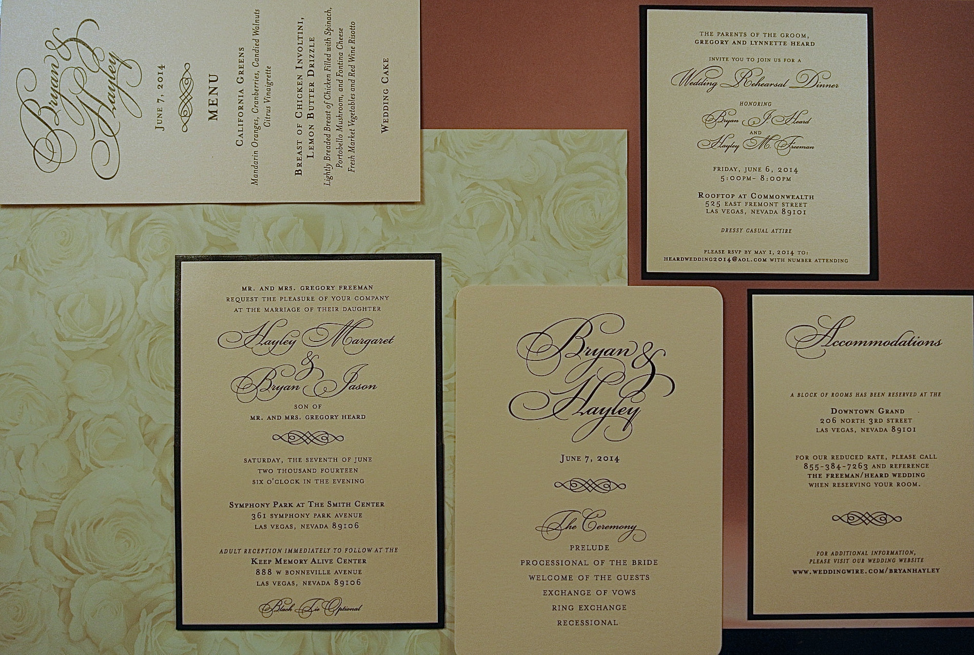 Paper & Home created the entire stationary suite that Hayley and Bryan used to brand their wedding.  All of the paper good from the invitation to the program and the menu featured the same font printed on blush shimmer paper, with black accents and backing.    Las Vegas Wedding Planner Andrea Eppolito  |  Stationary by Paper & Home