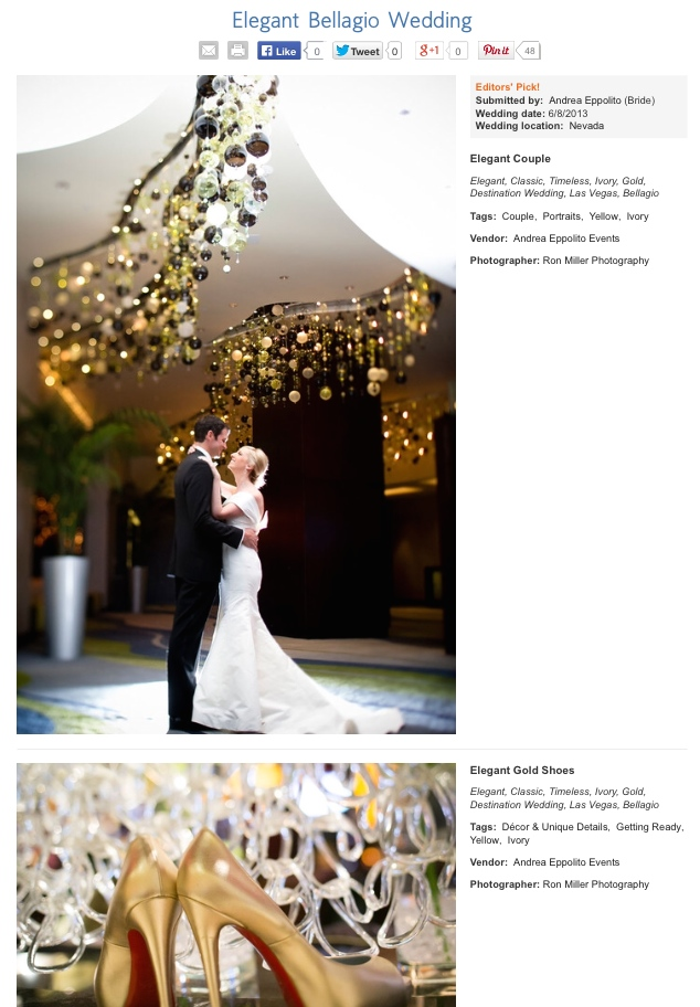 Las Vegas Wedding Planner Andrea Eppolito planned this elegant cream and gold destination wedding at Bellagio Las Vegas.  It was recently named an Editor's Pick on The Knot.