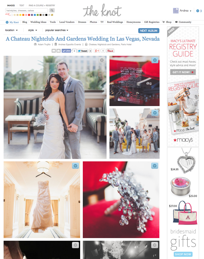 Las Vegas Wedding Planner Andrea Eppolito planned this modern, dazzling wedding at Chateau at the Paris Las Vegas.  It was recently named an  Editor's Pick on The Knot .