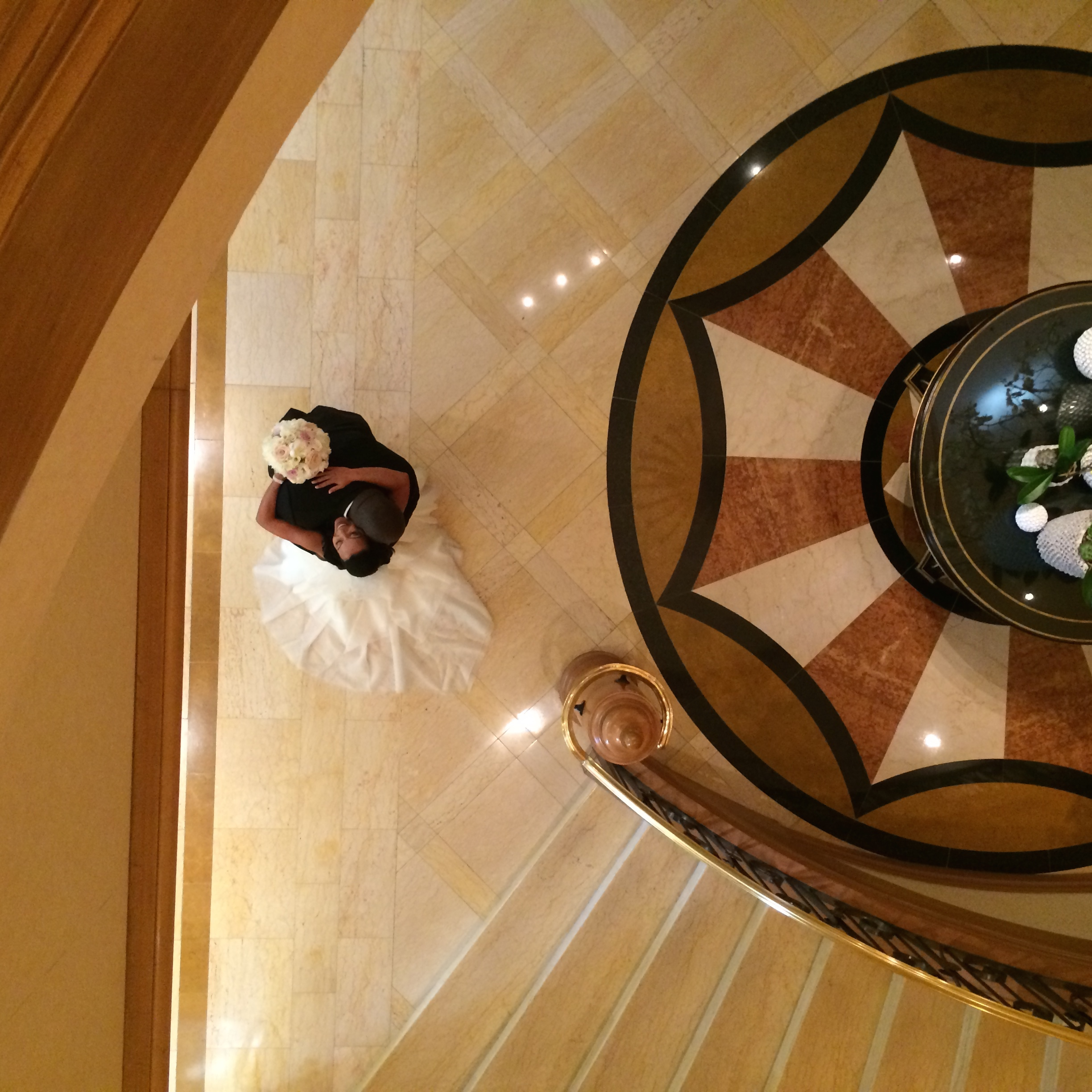 The First Look at the base of the stair case at  The Four Seasons Las Vegas.