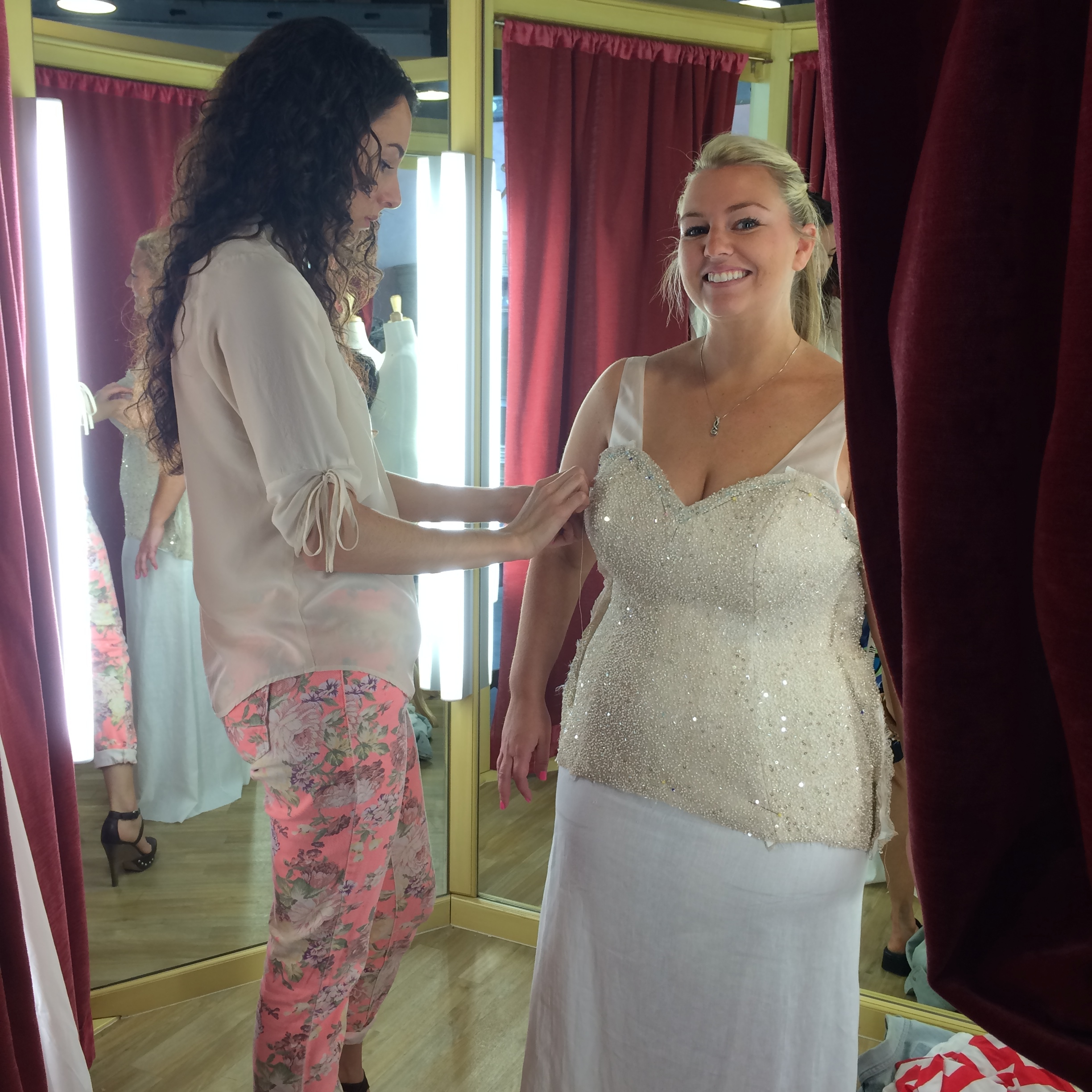 Mina Olive designer and founder Megan Thompson needed to take Hayley's dress in over 10 inches around thanks to T25!