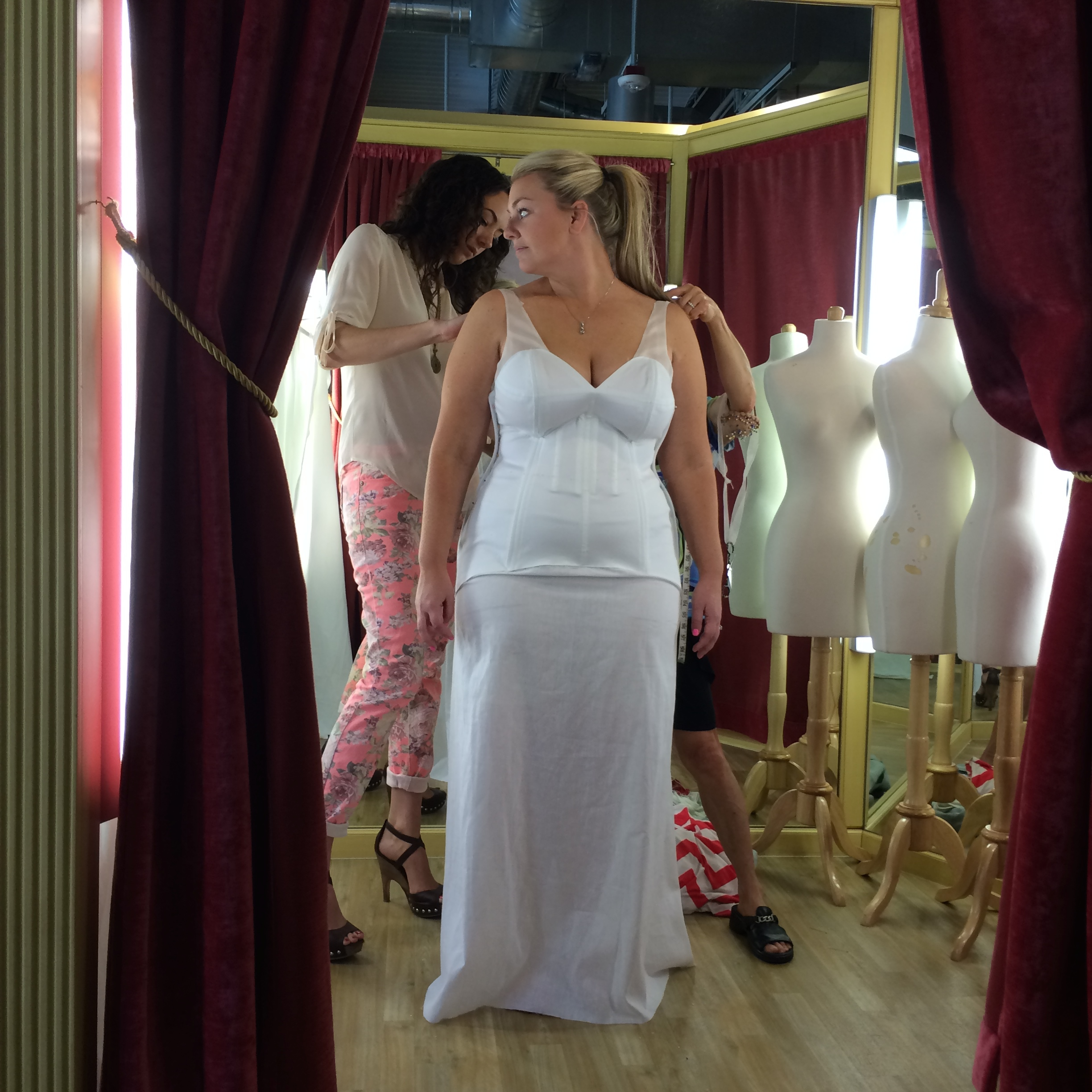 The muslin was built directly onto Hayley's frame, ensuring a perfect fit.