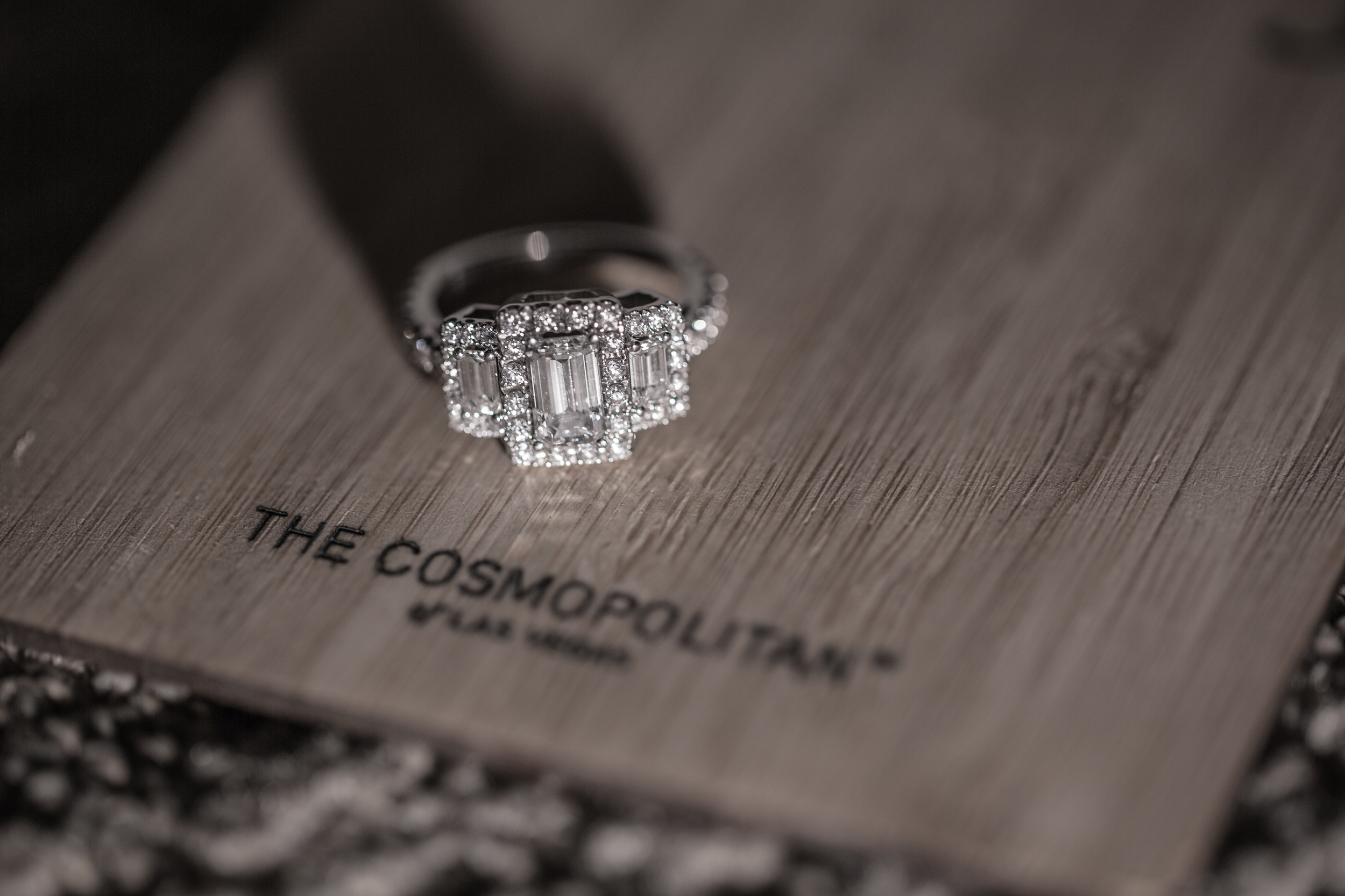 Love an emerald cut engagement ring with a pave setting!       Las Vegas Wedding at   Siena Golf Club    |  Photography by   Ella Gagiano    |  Las Wedding Planner   Andrea Eppolito