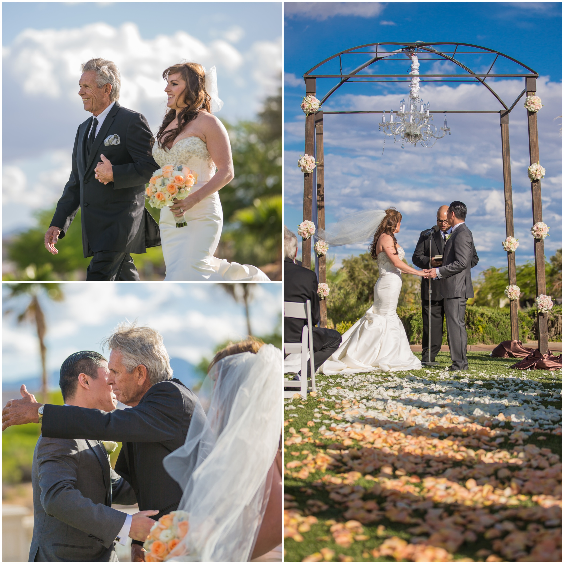 Michelle & Michael's Ceremony was beautiful, romantic, and personal.  I love that moment when a bride is given away, and seeing a father embrace his new son!     Las Vegas Wedding at   Siena Golf Club    |  Photography by   Ella Gagiano    | Floral and Decor by  Naakiti Floral   |  Las Wedding Planner   Andrea Eppolito