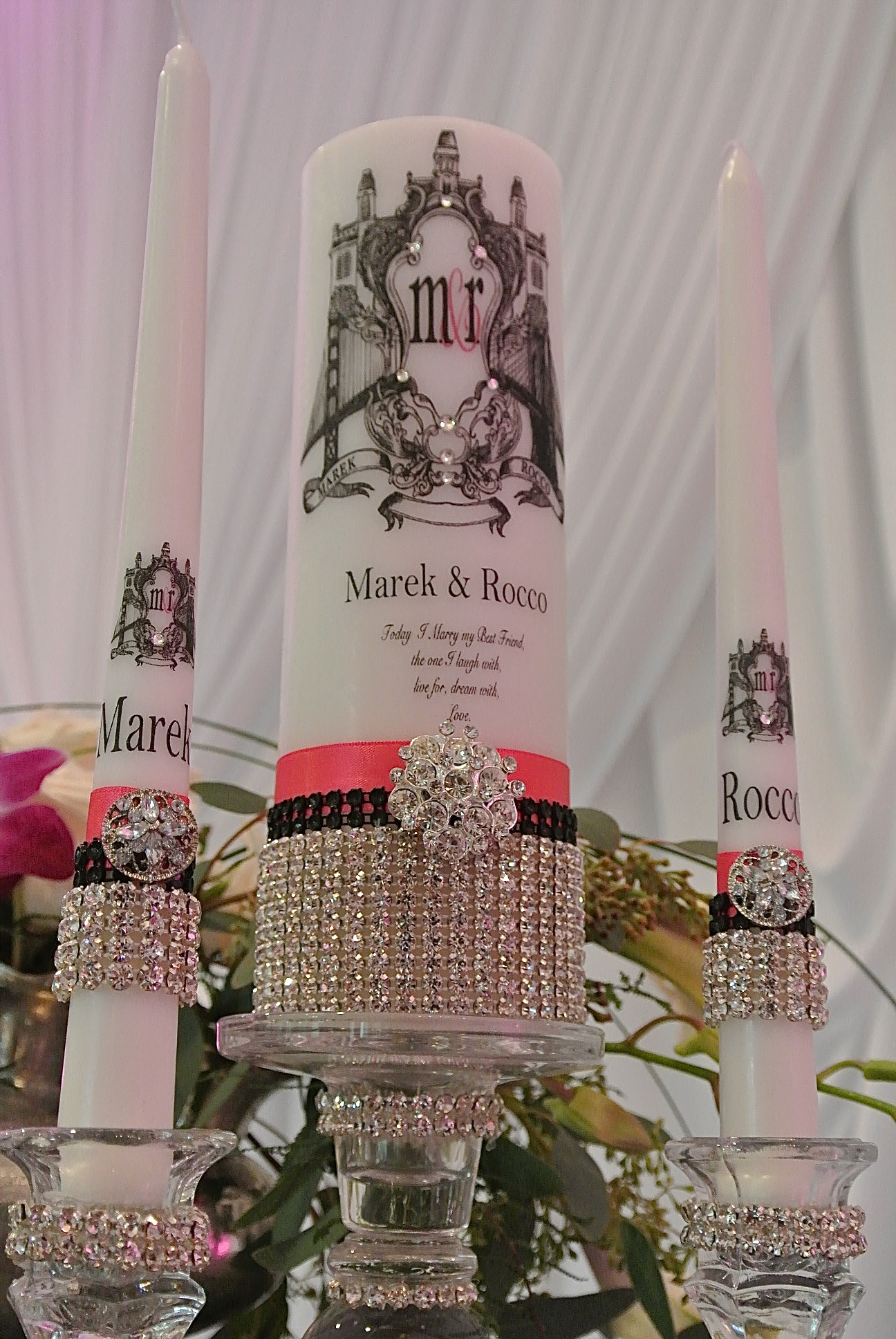 The custom unity candle was wrapped in crystals and featured the grooms' names and monogram.   Destination Wedding Planner Chicago & Las Veags:  Andrea Eppolito