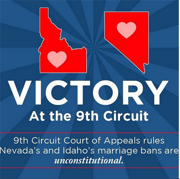 Victory! The 9th Circuit Court of Appeals rules that Nevada's marriage ban is unconstitutional! Making Gay Marriage LEGAL in Nevada! Image borrowed from my groom  Rocco Gonzalez's Instagram  feed!  #GayWeddings #LoveIsLove #MarriageEquality