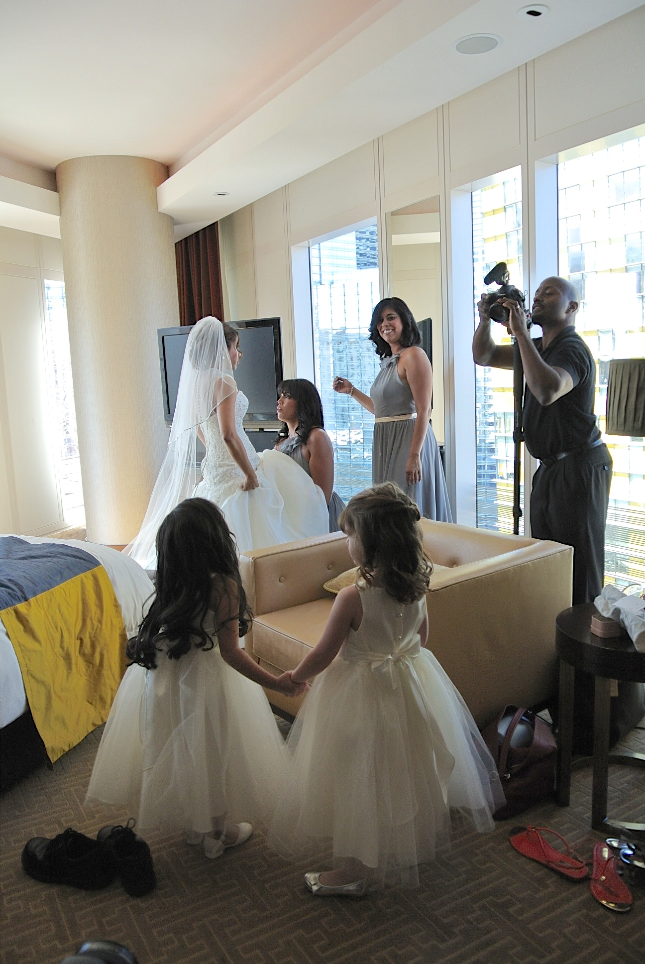 And so it begins...The little flower girls were mesmerized by the bridal process, and clung to each other while Jess was getting ready.   Las Vegas Wedding Planner:    Andrea Eppolito Events    |  Wedding Venue:    Mandarin Oriental Las Vegas