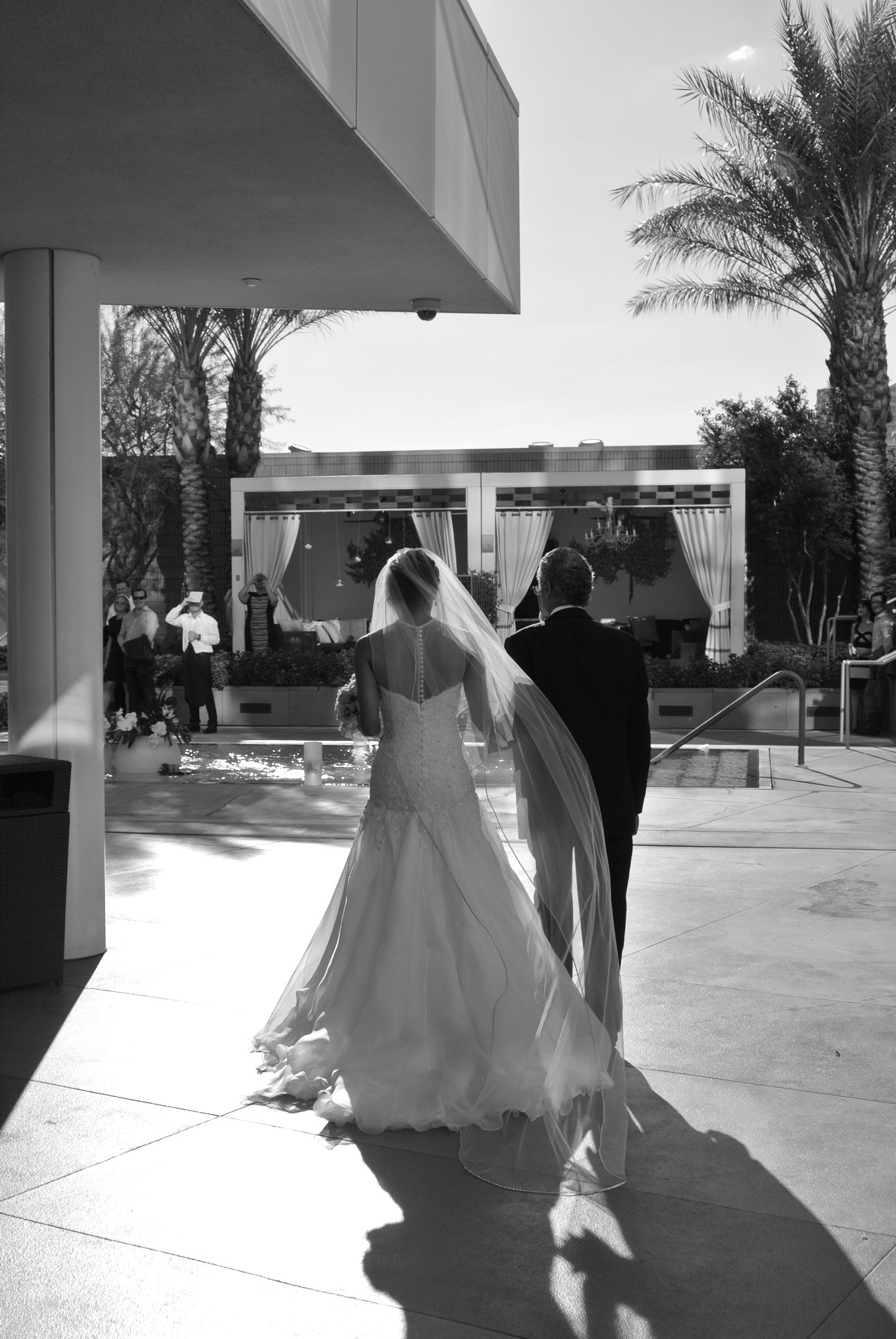 When the time came, my bride Jessica emerged and was walked down the aisle by her father.     Las Vegas Wedding Planner:    Andrea Eppolito Events    |  Wedding Venue:    Mandarin Oriental Las Vegas
