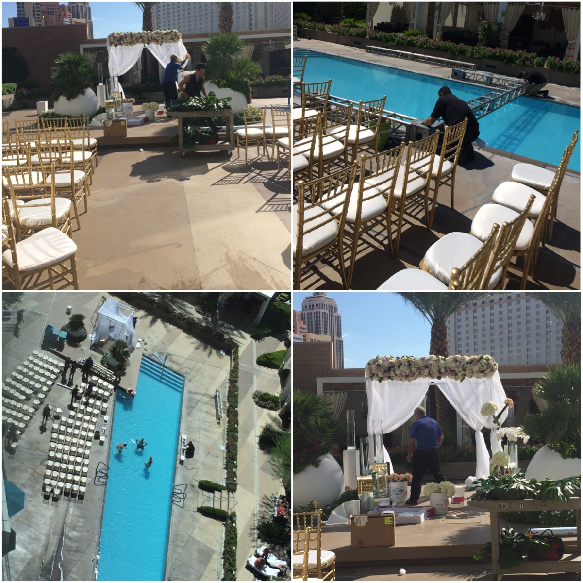 It took three full crews and over 30 people to transform the pool deck of the Mandarin Oriental into Jess and Juan's ceremony and reception site.   Las Vegas Wedding Planner:    Andrea Eppolito Events    |  Wedding Venue:    Mandarin Oriental Las Vegas