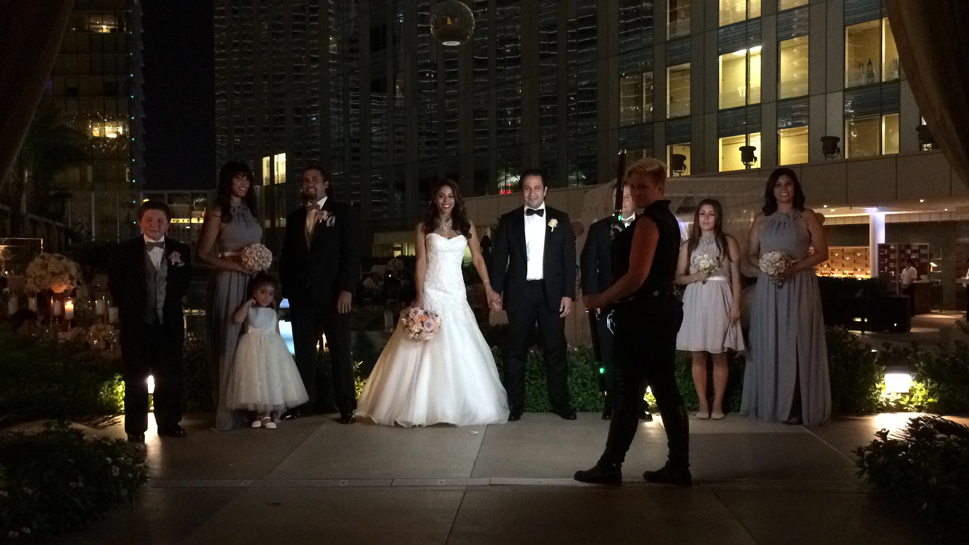 Behind the scenes as Dalisa lights a magnificent and dramatic bridal party shot.     Las Vegas Wedding Planner:    Andrea Eppolito Events    |  Wedding Venue:    Mandarin Oriental Las Vegas