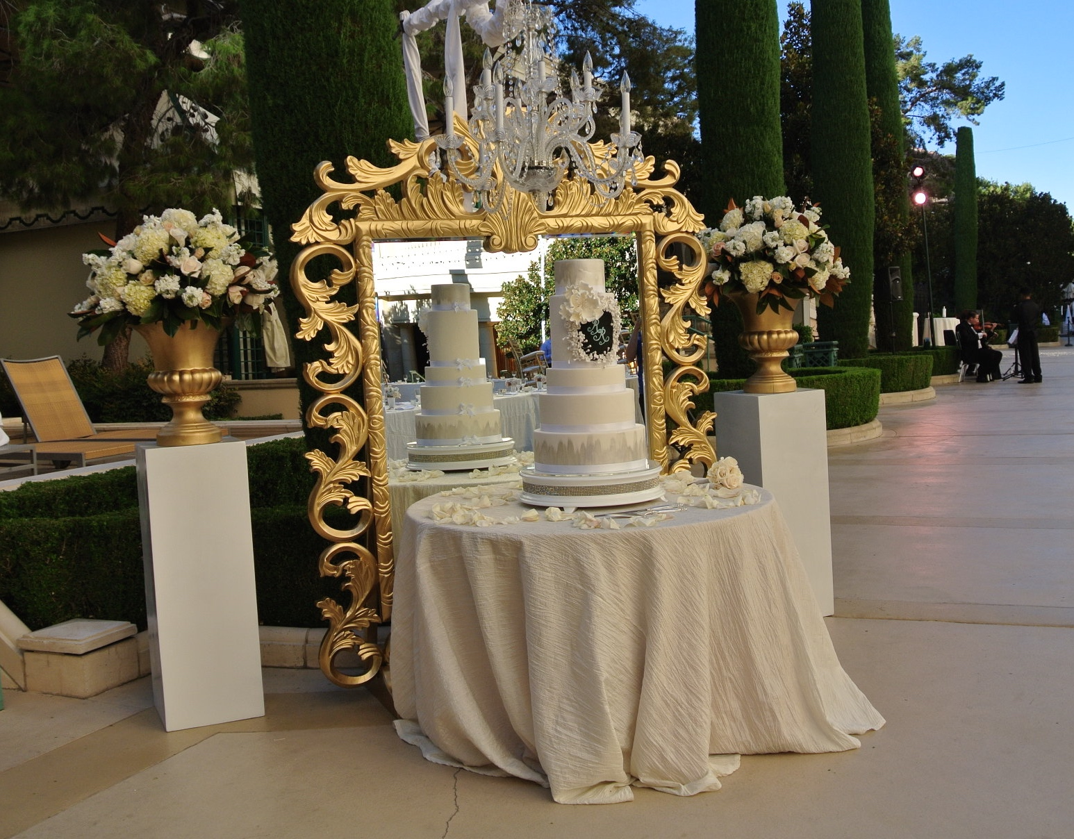 Monogrammed Wedding Cake By Bellagio Las Vegas.  Mirror, Florals, and Lighting by Naakiti.   Las Vegas Wedding Planner Andrea Eppolito  |  Wedding at Bellagio Las Vegas