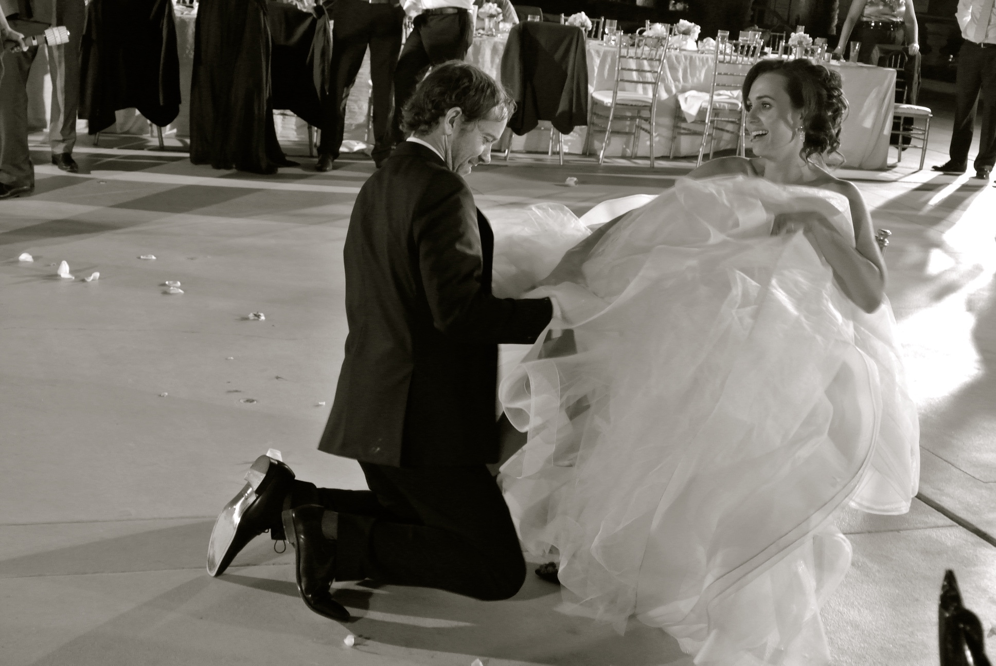 Getting the Garter.   Las Vegas Wedding Planner Andrea Eppolito  |  Wedding at Bellagio Las Vegas