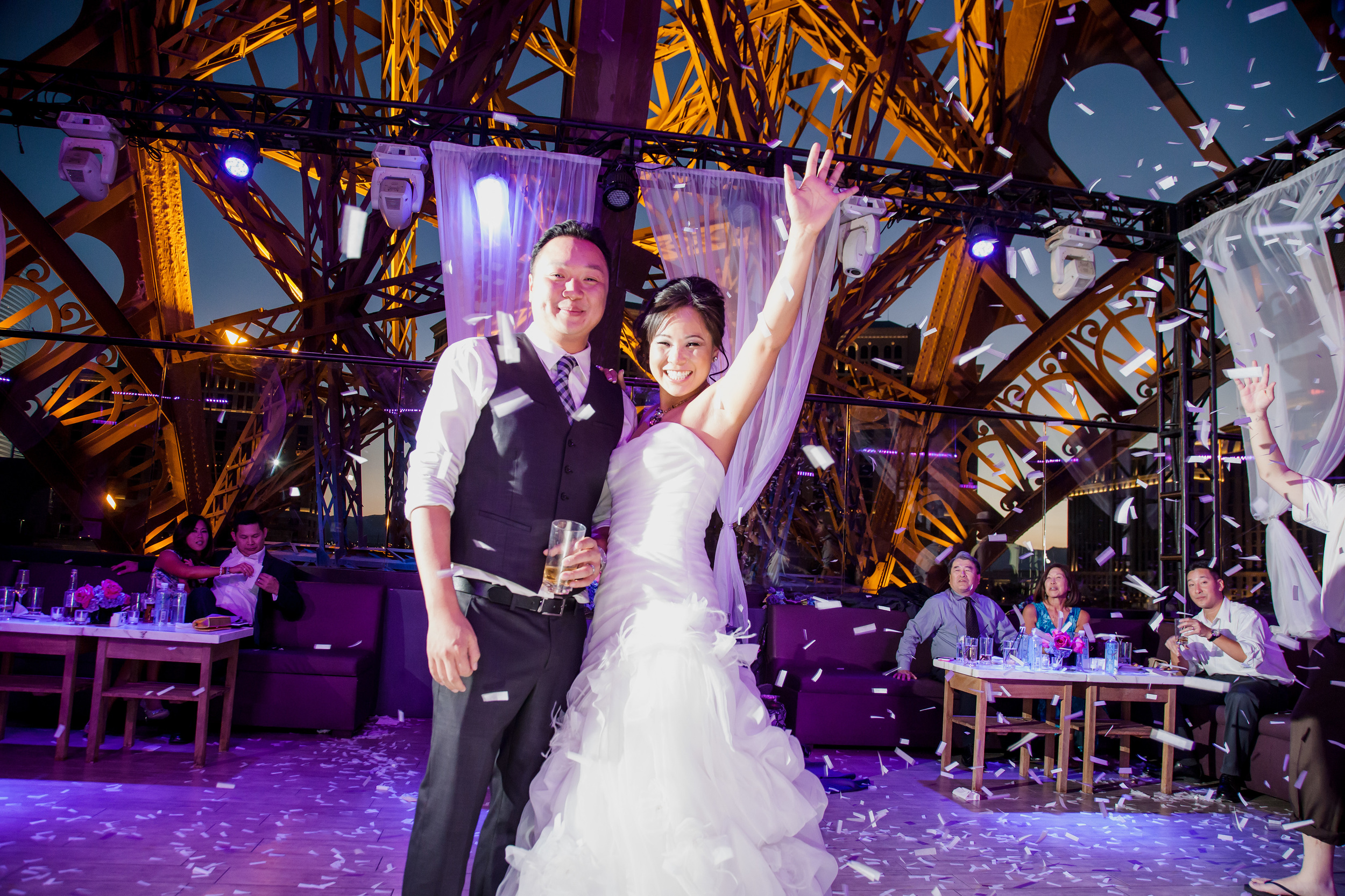 What a party!  Alice & Jimmy celebrated their marriage with a great big wedding party at Chateau Las Vegas.  Photo by  Adam Frazier .