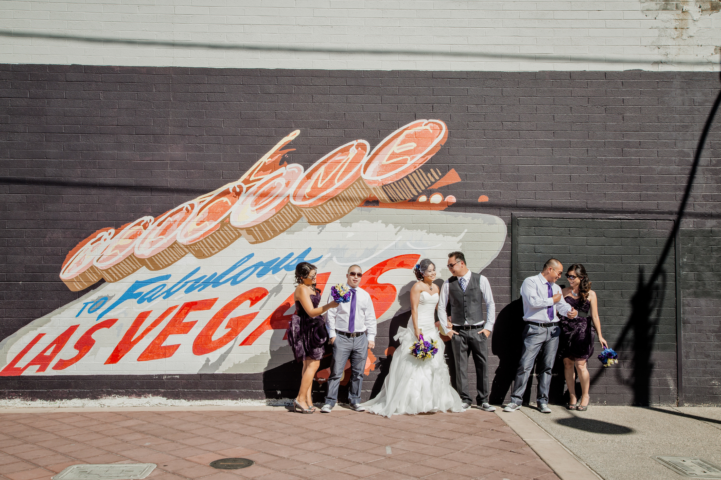 Las Vegas Street Art provided a cool background and marker for their destination wedding.
